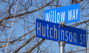 Road signs Willow Way and Hitchinson Street in Hopwood PA